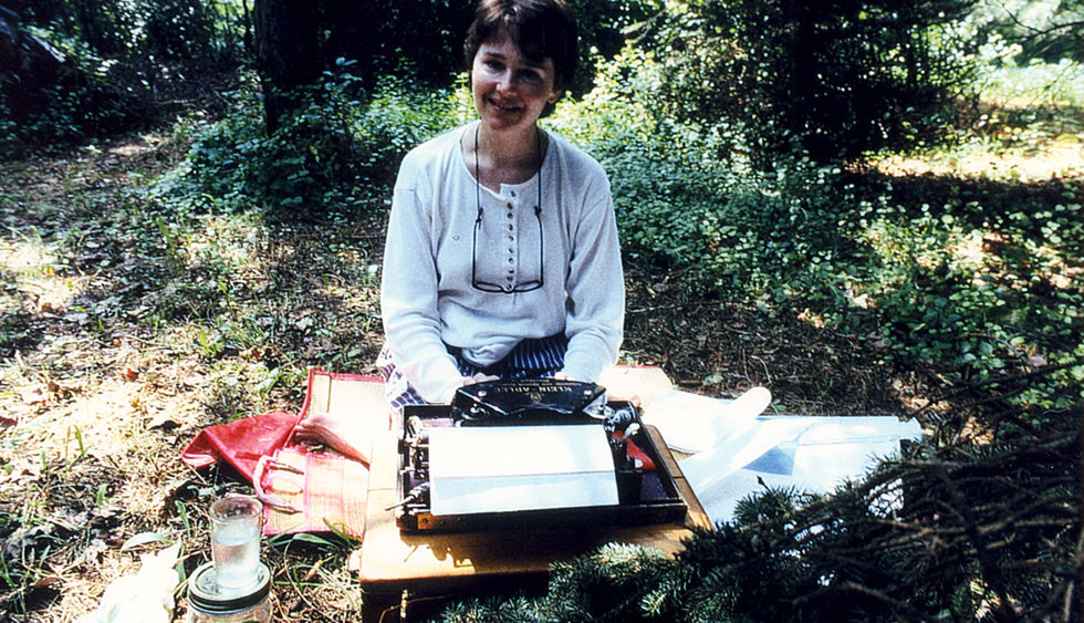 sheelagh-typing-in-the-woods